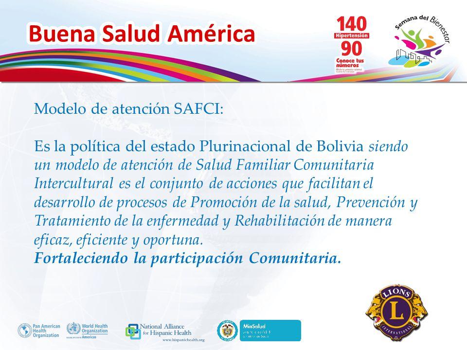Buena Salud América Inserte su logo Modelo de atención SAFCI: Es la política del estado Plurinacional de Bolivia siendo un modelo de atención de Salud