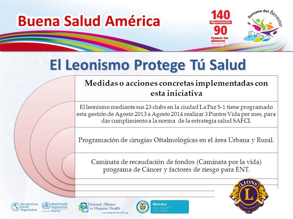 Buena Salud América Inserte su logo El Leonismo Protege Tú Salud Medidas o acciones concretas implementadas con esta iniciativa El leonismo mediante s