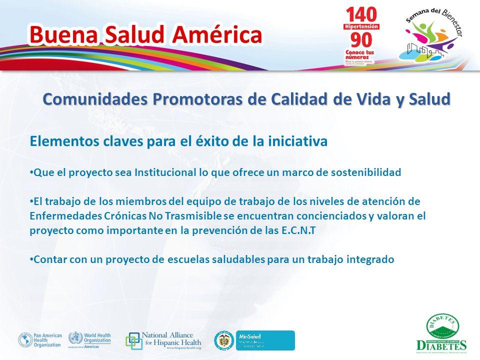 Buena Salud América Elementos claves para el éxito de la iniciativa Que el proyecto sea Institucional lo que ofrece un marco de sostenibilidad El trab