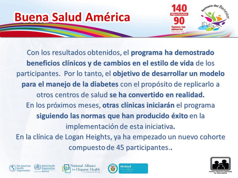 Buena Salud América Con los resultados obtenidos, el programa ha demostrado beneficios clínicos y de cambios en el estilo de vida de los participantes