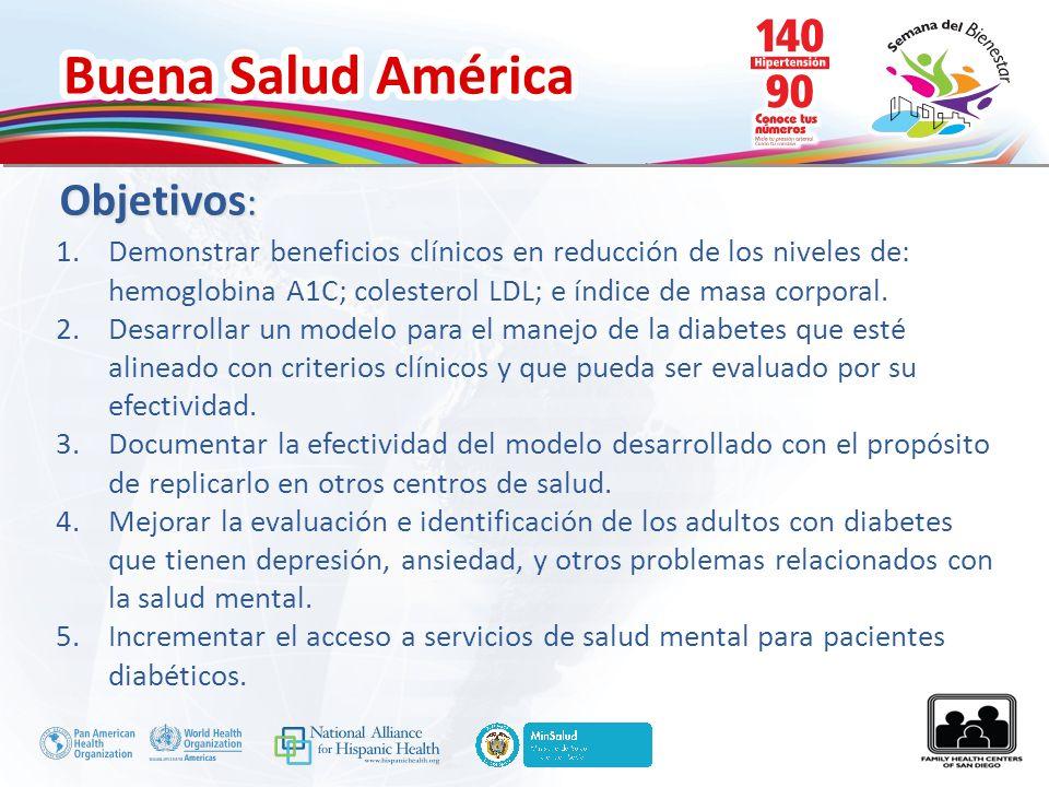 Buena Salud América Objetivos : 1.Demonstrar beneficios clínicos en reducción de los niveles de: hemoglobina A1C; colesterol LDL; e índice de masa cor