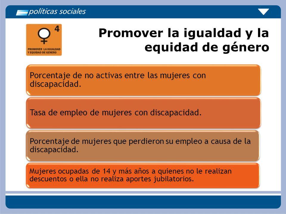Promover la igualdad y la equidad de género Porcentaje de no activas entre las mujeres con discapacidad. Tasa de empleo de mujeres con discapacidad. P