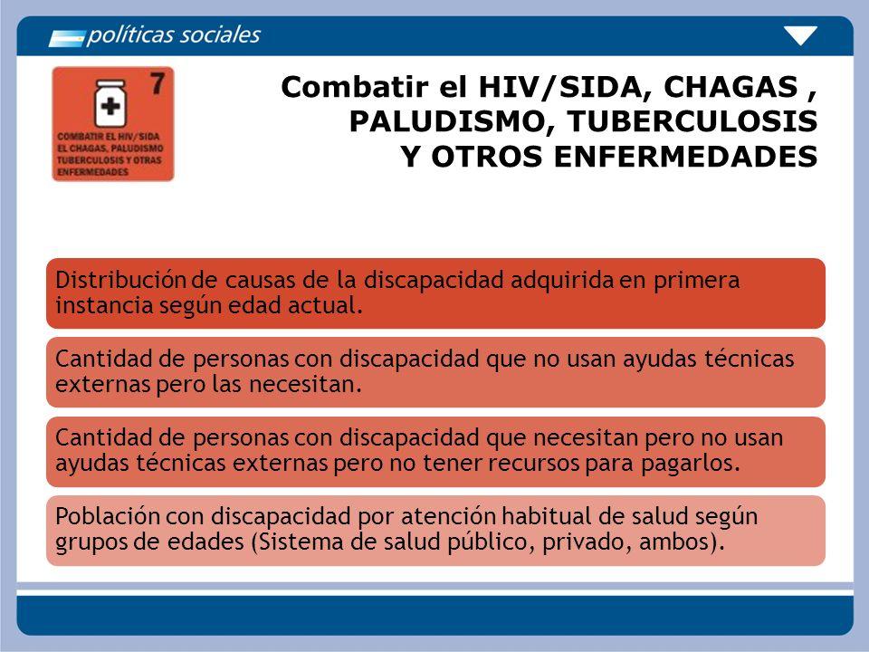 Combatir el HIV/SIDA, CHAGAS, PALUDISMO, TUBERCULOSIS Y OTROS ENFERMEDADES Distribución de causas de la discapacidad adquirida en primera instancia se