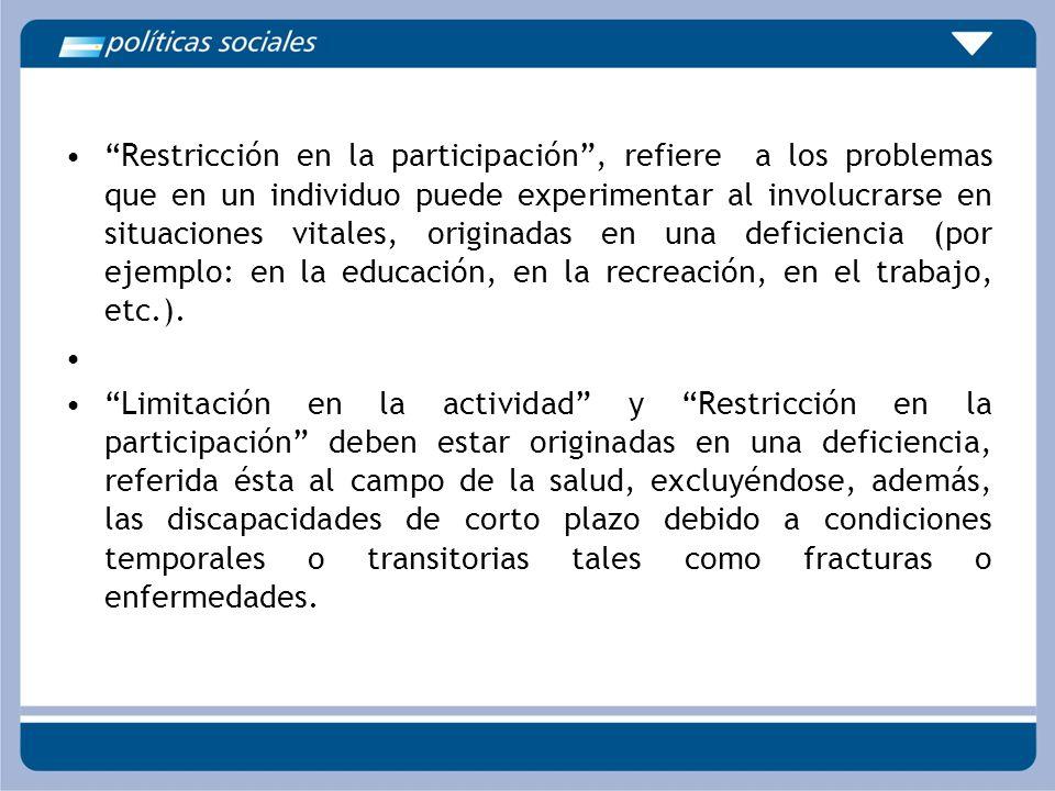 Restricción en la participación, refiere a los problemas que en un individuo puede experimentar al involucrarse en situaciones vitales, originadas en