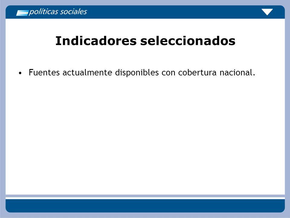 Indicadores seleccionados Fuentes actualmente disponibles con cobertura nacional.