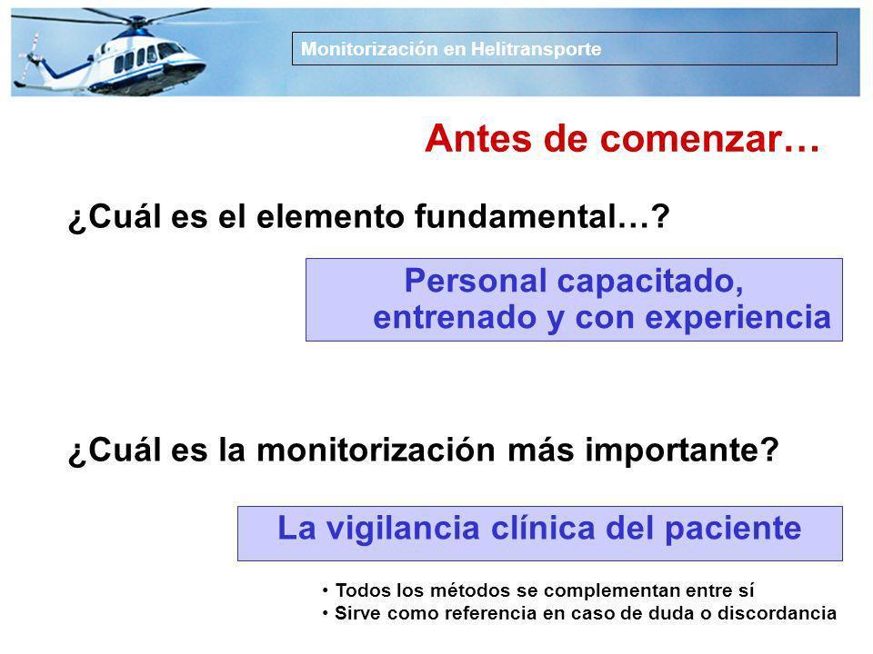 1.Describir los instrumentos y parámetros de medida en helitransporte 2.Presentar recomendaciones sobre monitorización en TS HEMS Monitorización en He