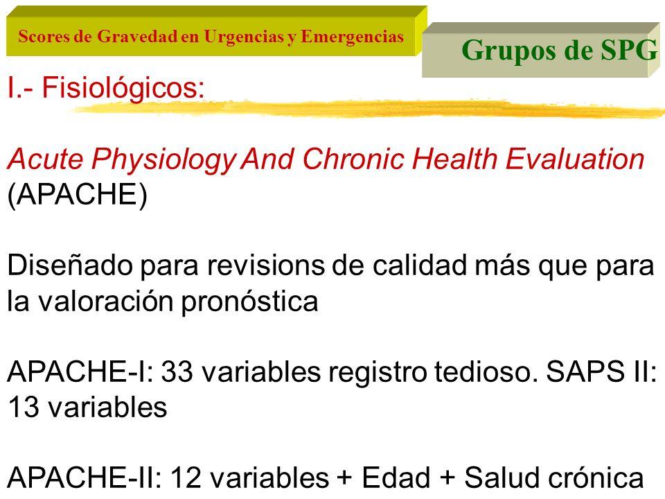 Scores de Gravedad en Urgencias y Emergencias Grupos de SPG I.- Fisiológicos: Acute Physiology And Chronic Health Evaluation (APACHE) Diseñado para re