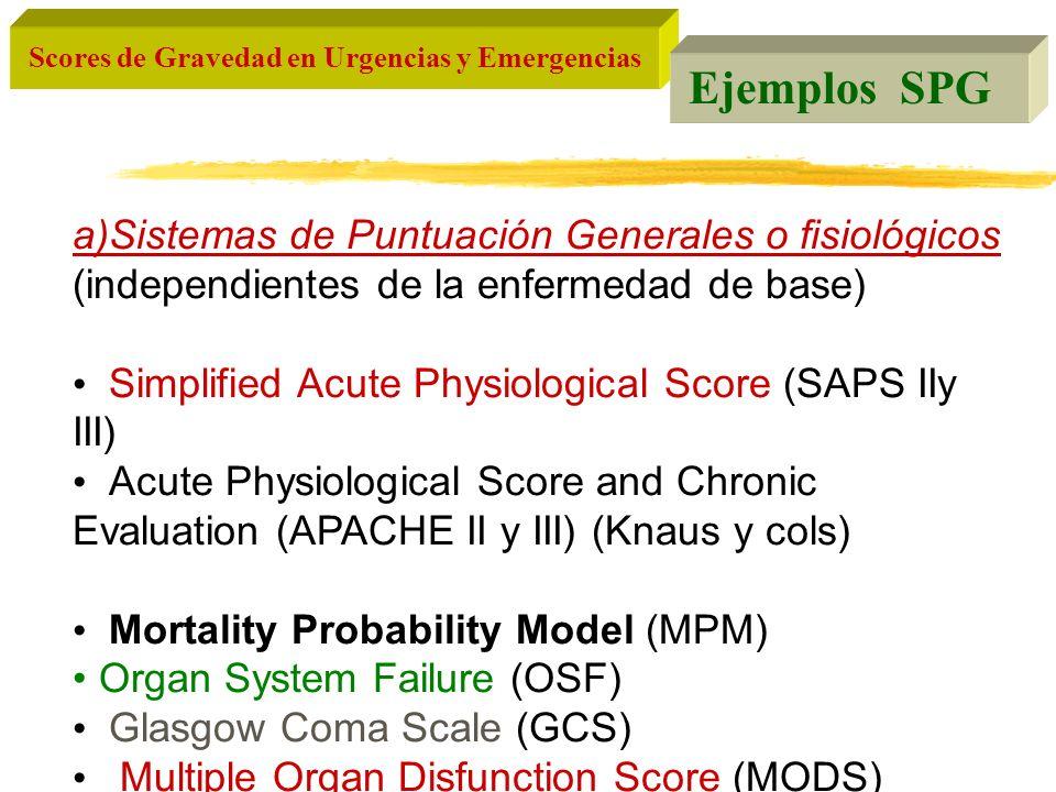 Scores de Gravedad en Urgencias y Emergencias Ejemplos SPG a)Sistemas de Puntuación Generales o fisiológicos (independientes de la enfermedad de base)