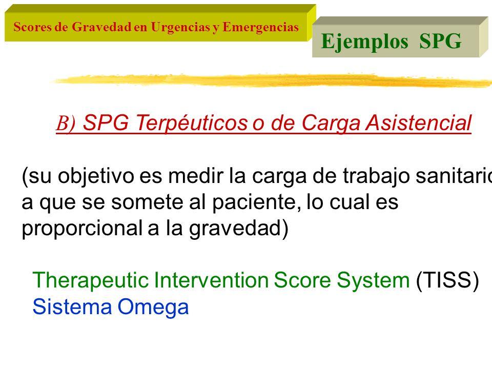 Scores de Gravedad en Urgencias y Emergencias B) SPG Terpéuticos o de Carga Asistencial (su objetivo es medir la carga de trabajo sanitario a que se s