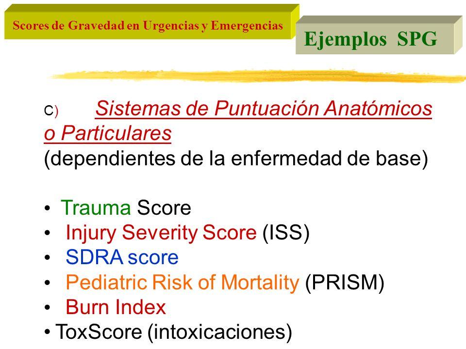 Scores de Gravedad en Urgencias y Emergencias C) Sistemas de Puntuación Anatómicos o Particulares (dependientes de la enfermedad de base) Trauma Score
