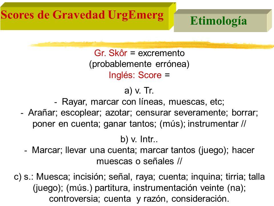 Scores de Gravedad en Urgencias y Emergencias Grupos de SPG III.- Anatómicos: Injury Severity Score (ISS) Puntuación 0-5 para cada area anatómica afectada Puntuación final = suma de los 3 máximos cuadrados Util para auditorías en trauma e investigación