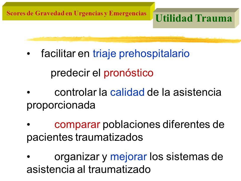 Scores de Gravedad en Urgencias y Emergencias Utilidad Trauma facilitar en triaje prehospitalario predecir el pronóstico controlar la calidad de la as