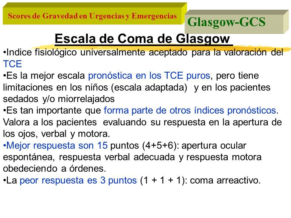 Scores de Gravedad en Urgencias y Emergencias Glasgow-GCS Escala de Coma de Glasgow Indice fisiológico universalmente aceptado para la valoración del