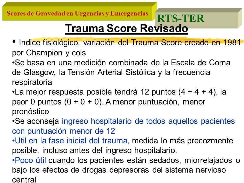 Scores de Gravedad en Urgencias y Emergencias RTS-TER Trauma Score Revisado Indice fisiológico, variación del Trauma Score creado en 1981 por Champion