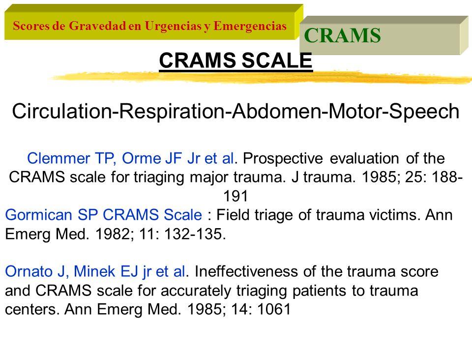 Scores de Gravedad en Urgencias y Emergencias CRAMS CRAMS SCALE Circulation-Respiration-Abdomen-Motor-Speech Clemmer TP, Orme JF Jr et al. Prospective