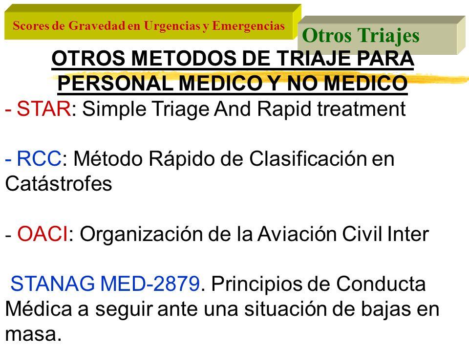 Scores de Gravedad en Urgencias y Emergencias Otros Triajes OTROS METODOS DE TRIAJE PARA PERSONAL MEDICO Y NO MEDICO -STAR: Simple Triage And Rapid tr
