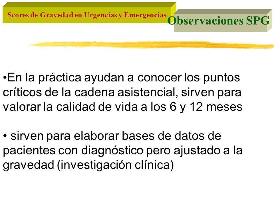 Scores de Gravedad en Urgencias y Emergencias Observaciones SPG En la práctica ayudan a conocer los puntos críticos de la cadena asistencial, sirven p