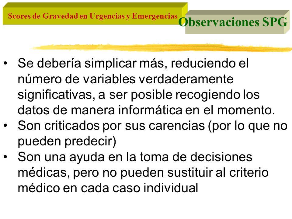 Scores de Gravedad en Urgencias y Emergencias Observaciones SPG Se debería simplicar más, reduciendo el número de variables verdaderamente significati