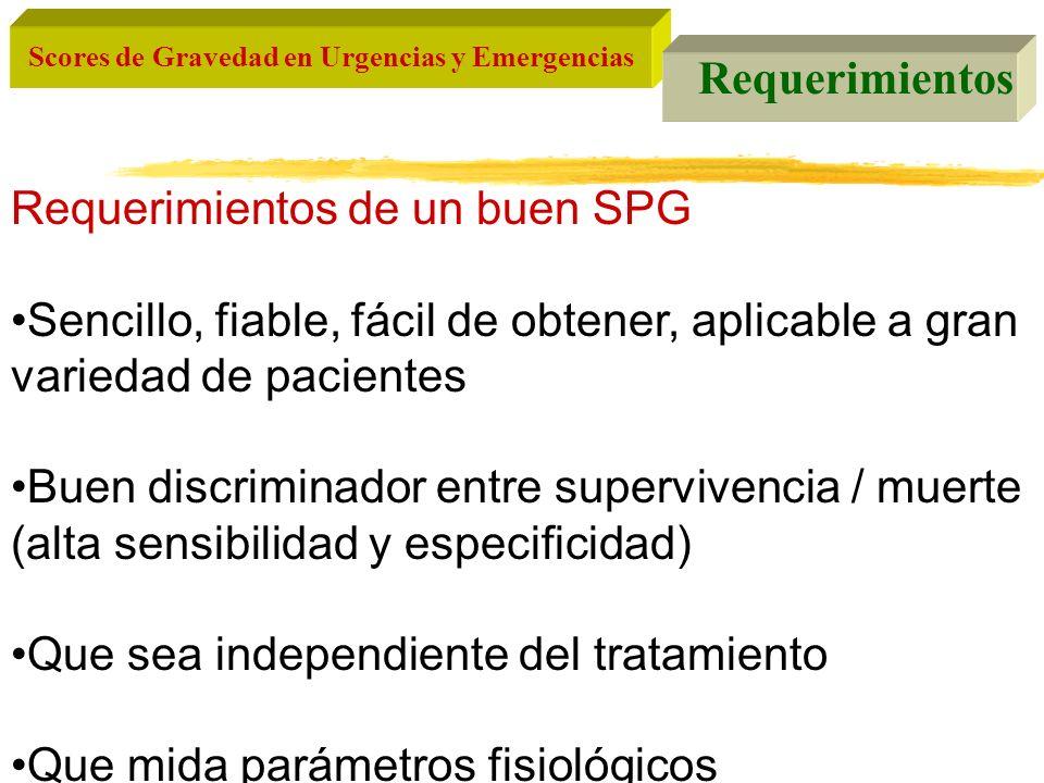 Scores de Gravedad en Urgencias y Emergencias Requerimientos Requerimientos de un buen SPG Sencillo, fiable, fácil de obtener, aplicable a gran varied
