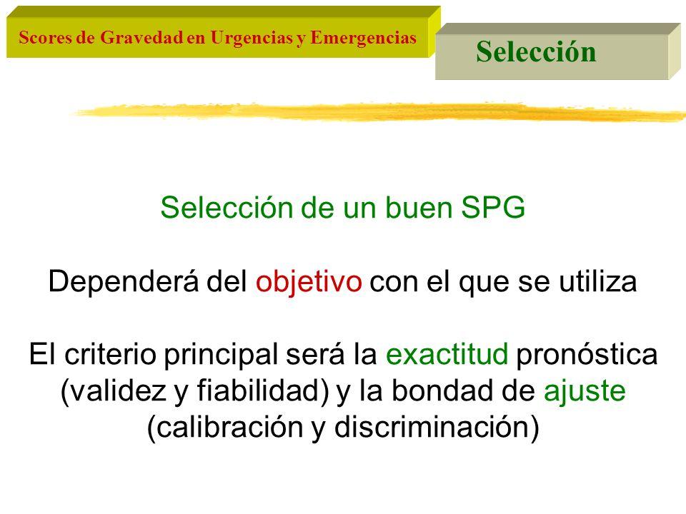 Scores de Gravedad en Urgencias y Emergencias Selección Selección de un buen SPG Dependerá del objetivo con el que se utiliza El criterio principal se