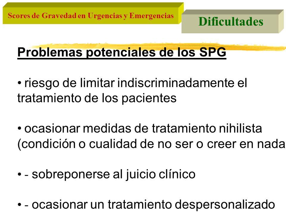 Scores de Gravedad en Urgencias y Emergencias Tipos de SPG a)Genéricos Aplicables a todos los pacientes, independientemente de su enfermedad de base b)Específicos Aplicables solamente a los pacientes con una determinada enfermedad