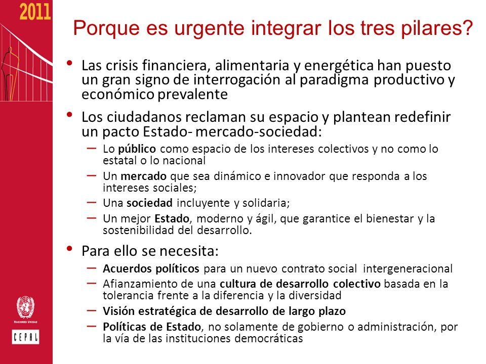 Porque es urgente integrar los tres pilares? Las crisis financiera, alimentaria y energética han puesto un gran signo de interrogación al paradigma pr