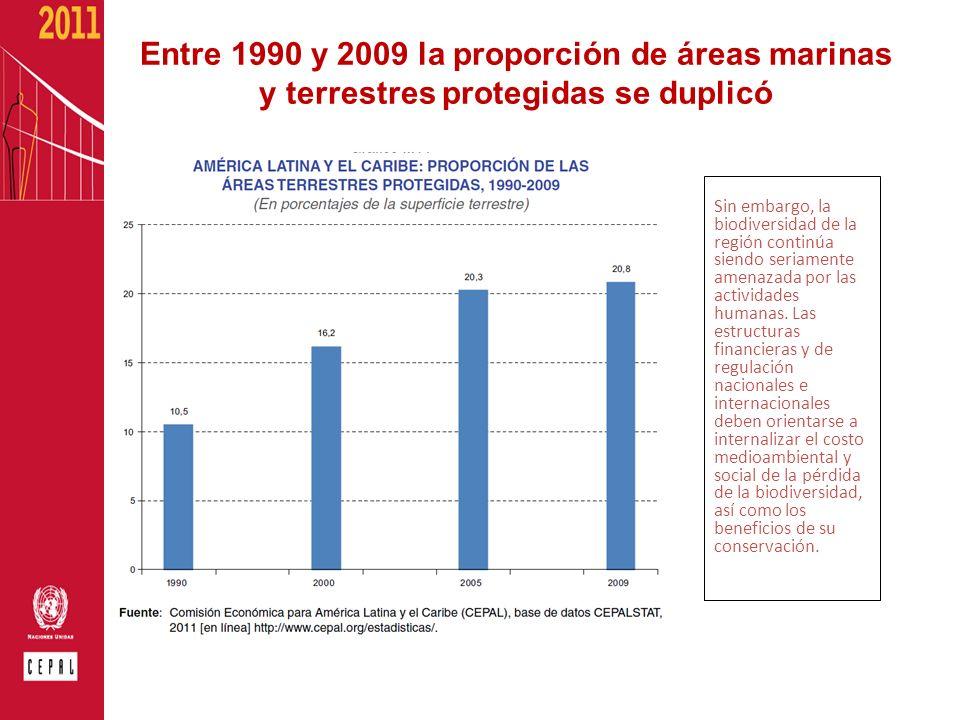 Entre 1990 y 2009 la proporción de áreas marinas y terrestres protegidas se duplicó Sin embargo, la biodiversidad de la región continúa siendo seriame