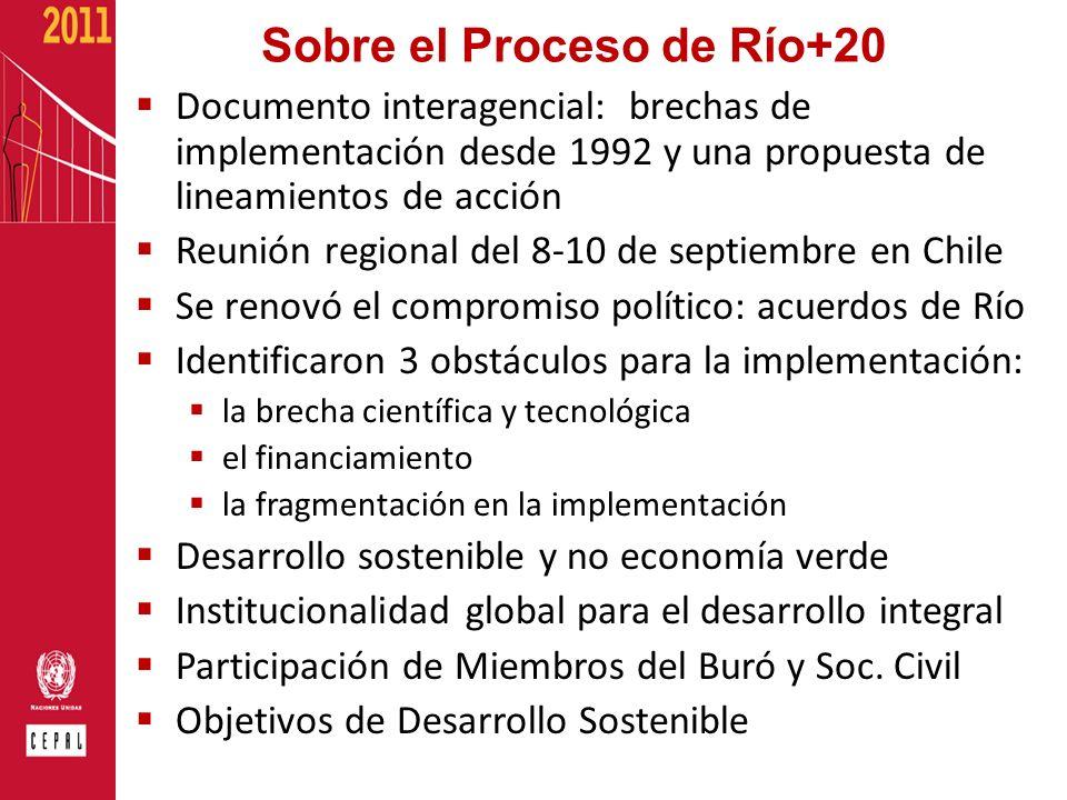 Sobre el Proceso de Río+20 Documento interagencial: brechas de implementación desde 1992 y una propuesta de lineamientos de acción Reunión regional de