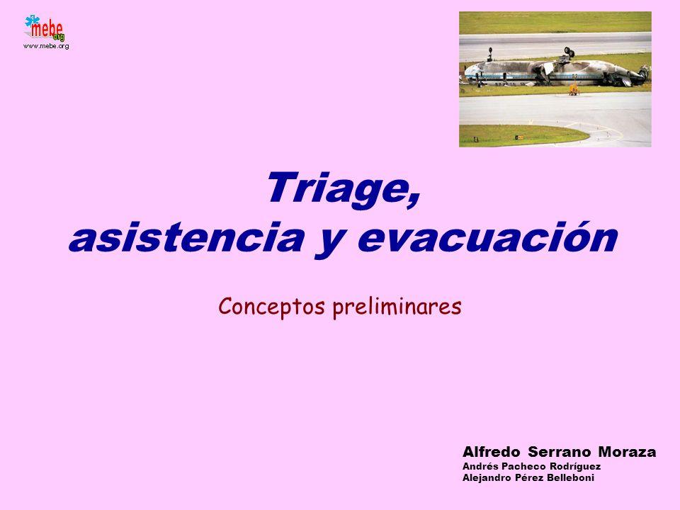 Triage, asistencia y evacuación Conceptos preliminares Alfredo Serrano Moraza Andrés Pacheco Rodríguez Alejandro Pérez Belleboni