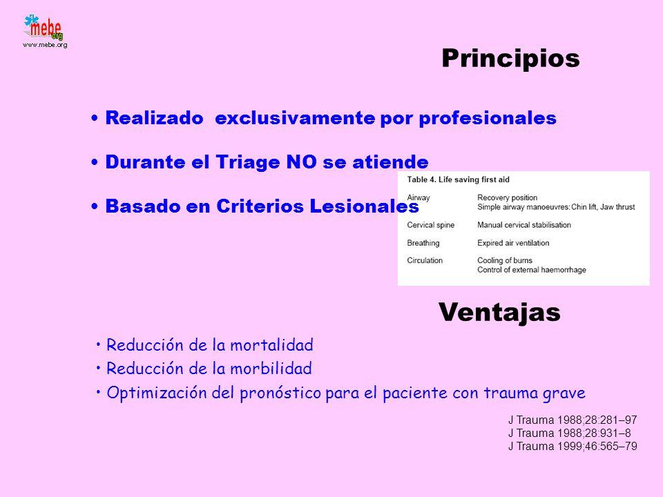 Realizado exclusivamente por profesionales Durante el Triage NO se atiende Basado en Criterios Lesionales Principios Reducción de la mortalidad Reducc