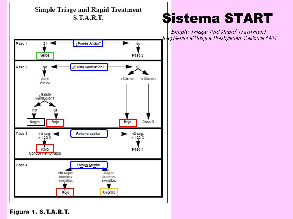 Sistema START Simple Triage And Rapid Treatment Hoag Memorial Hospital Presbyterian. California 1984