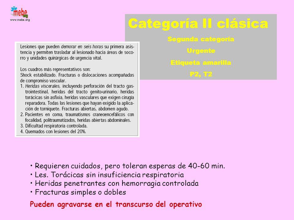Categoría II clásica Segunda categoría Urgente Etiqueta amarilla P2, T2 Requieren cuidados, pero toleran esperas de 40-60 min. Les. Torácicas sin insu