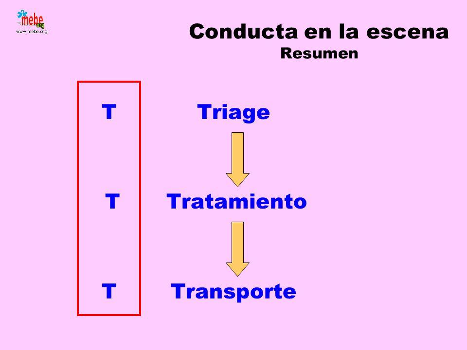 Conducta en la escena Resumen Triage Tratamiento Transporte T