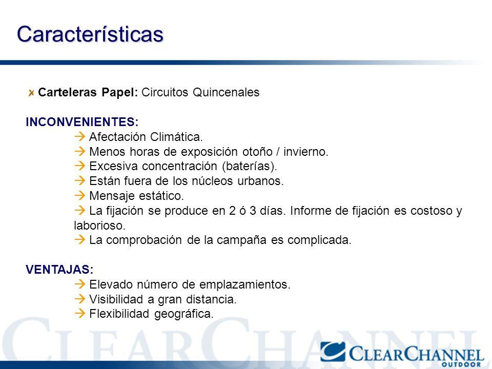 Características Carteleras Papel: Circuitos Quincenales INCONVENIENTES: Afectación Climática. Menos horas de exposición otoño / invierno. Excesiva con