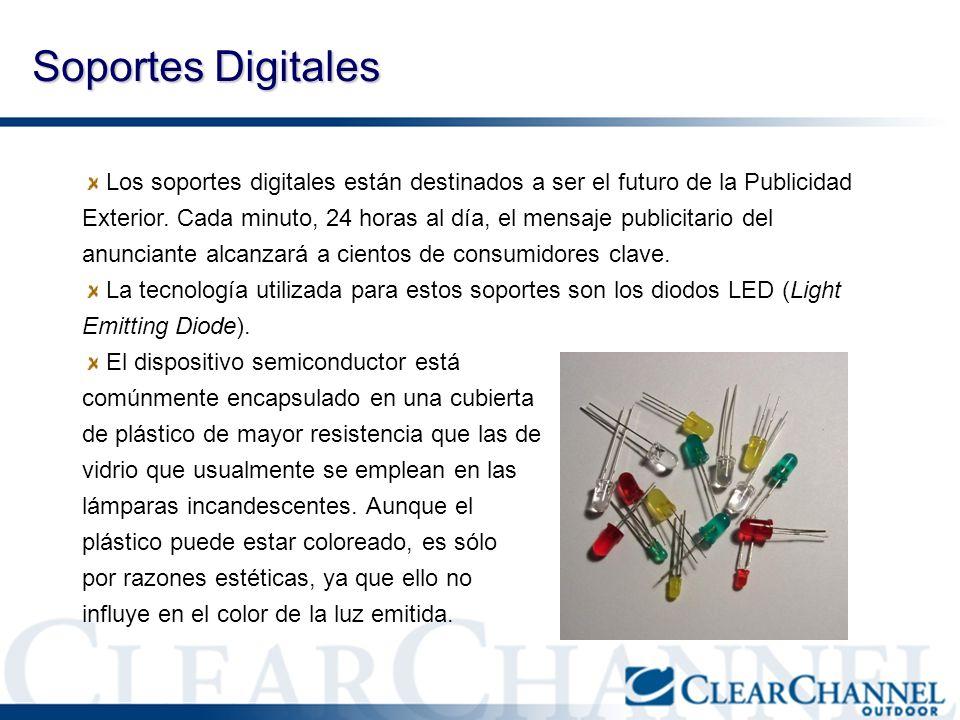 Soportes Digitales Los soportes digitales están destinados a ser el futuro de la Publicidad Exterior. Cada minuto, 24 horas al día, el mensaje publici