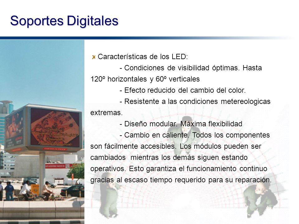 Soportes Digitales Características de los LED: - Condiciones de visibilidad óptimas. Hasta 120º horizontales y 60º verticales - Efecto reducido del ca