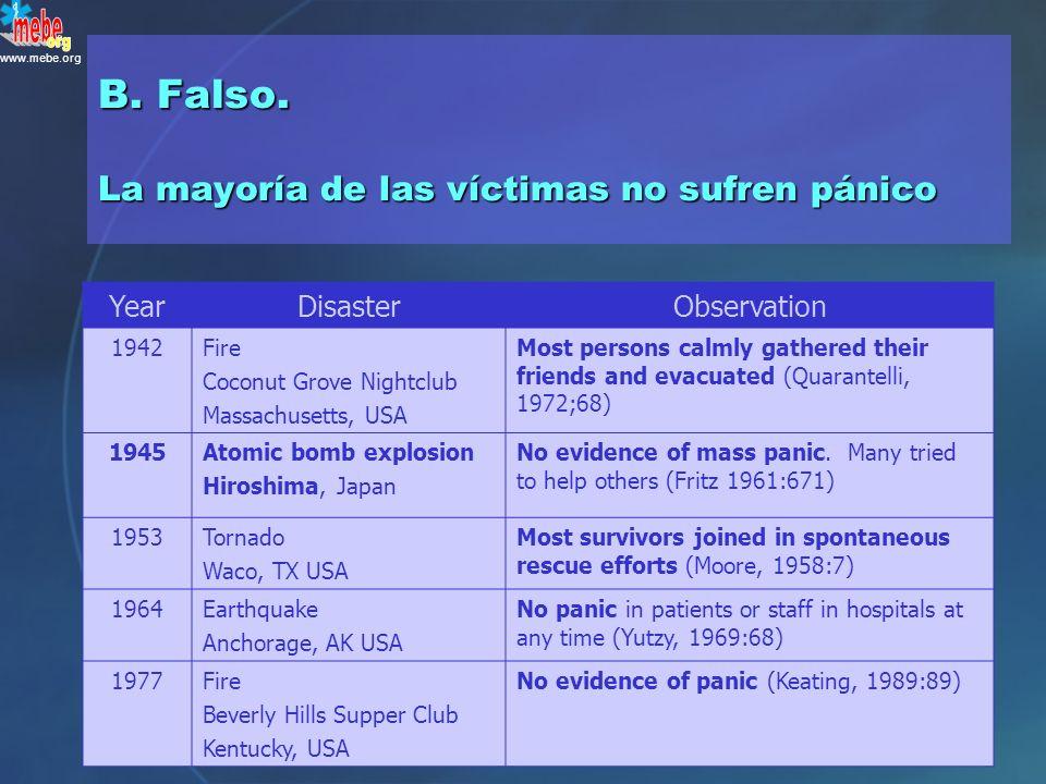 ¿ Verdadero o falso ? Las víctimas presentes en los desastres suelen verse afectadas por el pánico A.Verdadero B.Falso P