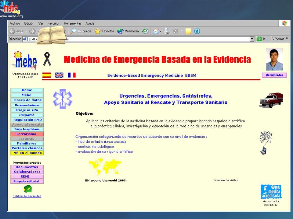 www.mebe.org ¿Cuál es el circuito más habitual de la mayor parte de las víctimas que llegan a los hospitales tras un desastre.