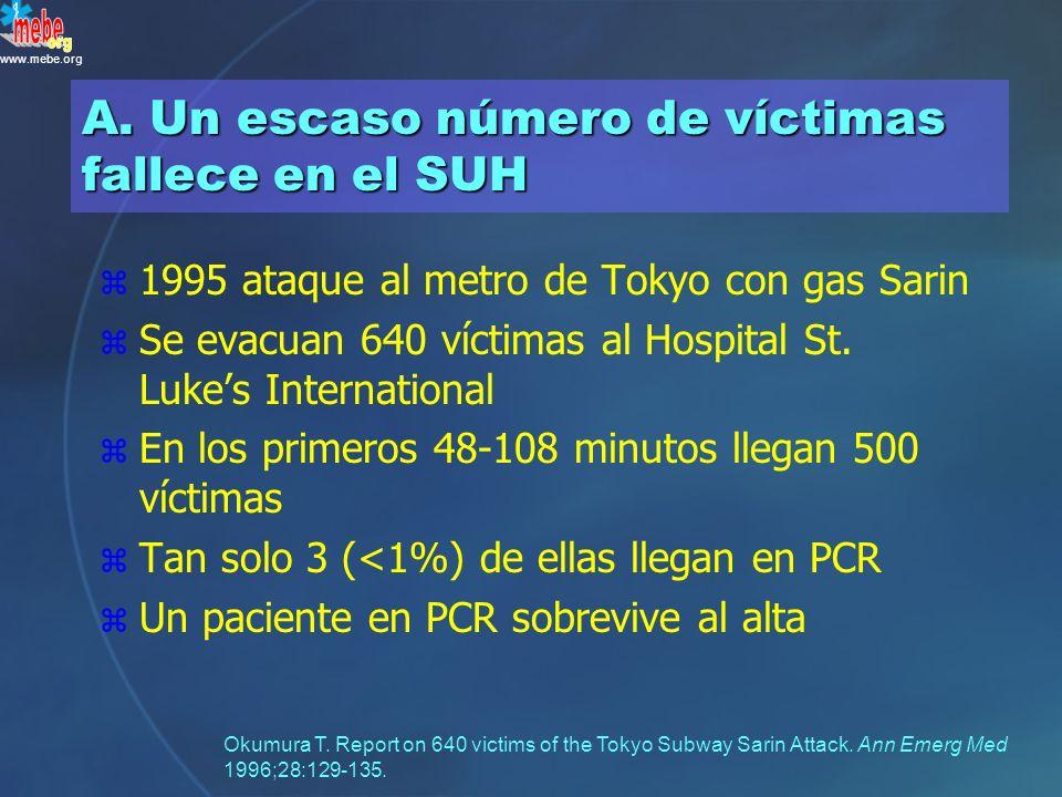 www.mebe.org Respecto a la mortalidad en incidentes con múltiples víctimas / Desastres, ¿qué es más cierto? A.Un escaso número de víctimas fallece en