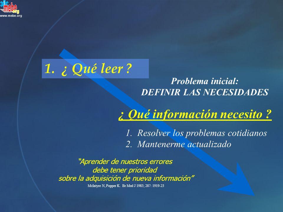 www.mebe.org 1.¿ Qué leer . Problema inicial: DEFINIR LAS NECESIDADES 1.