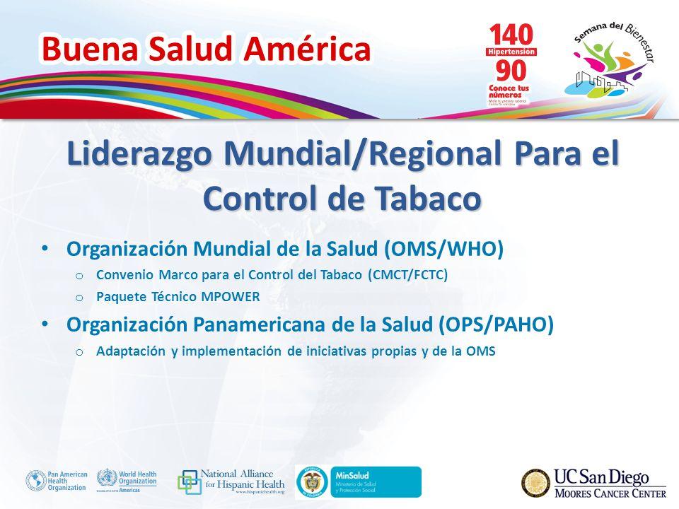 Buena Salud América Organización Mundial de la Salud (OMS/WHO) o Convenio Marco para el Control del Tabaco (CMCT/FCTC) o Paquete Técnico MPOWER Organización Panamericana de la Salud (OPS/PAHO) o Adaptación y implementación de iniciativas propias y de la OMS Liderazgo Mundial/Regional Para el Control de Tabaco