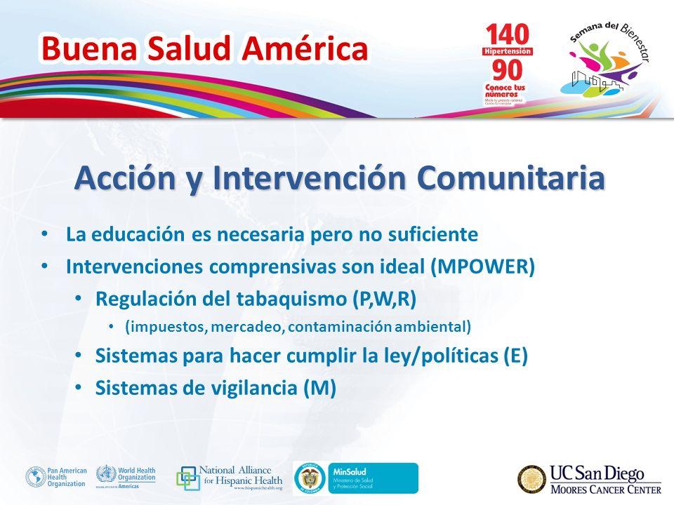 Buena Salud América Acción y Intervención Comunitaria La educación es necesaria pero no suficiente Intervenciones comprensivas son ideal (MPOWER) Regulación del tabaquismo (P,W,R) (impuestos, mercadeo, contaminación ambiental) Sistemas para hacer cumplir la ley/políticas (E) Sistemas de vigilancia (M)