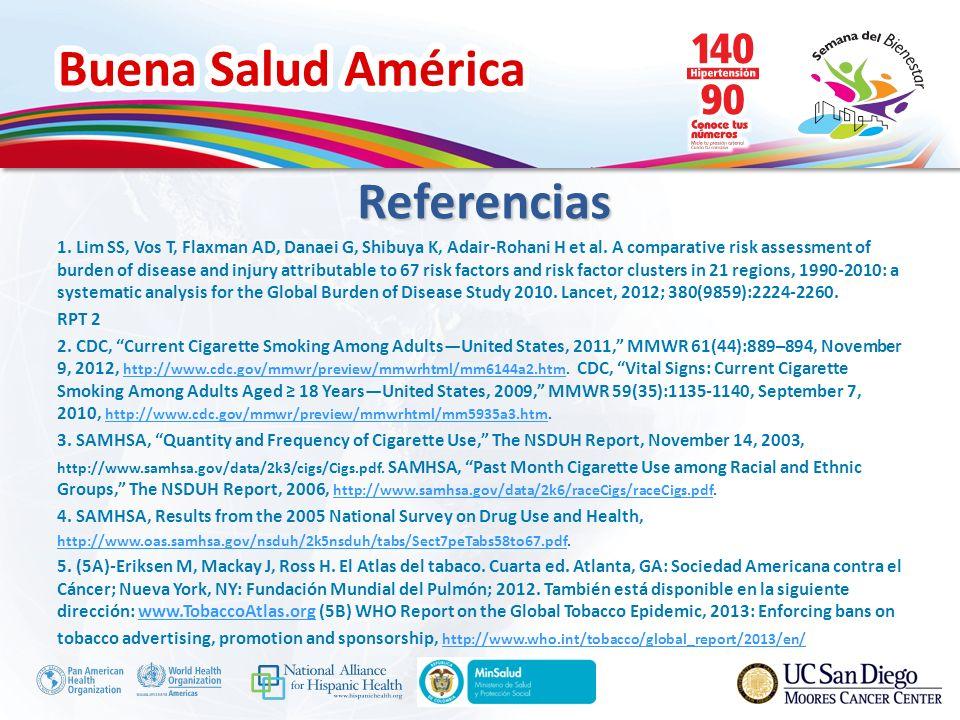 Buena Salud América 1. Lim SS, Vos T, Flaxman AD, Danaei G, Shibuya K, Adair-Rohani H et al. A comparative risk assessment of burden of disease and in