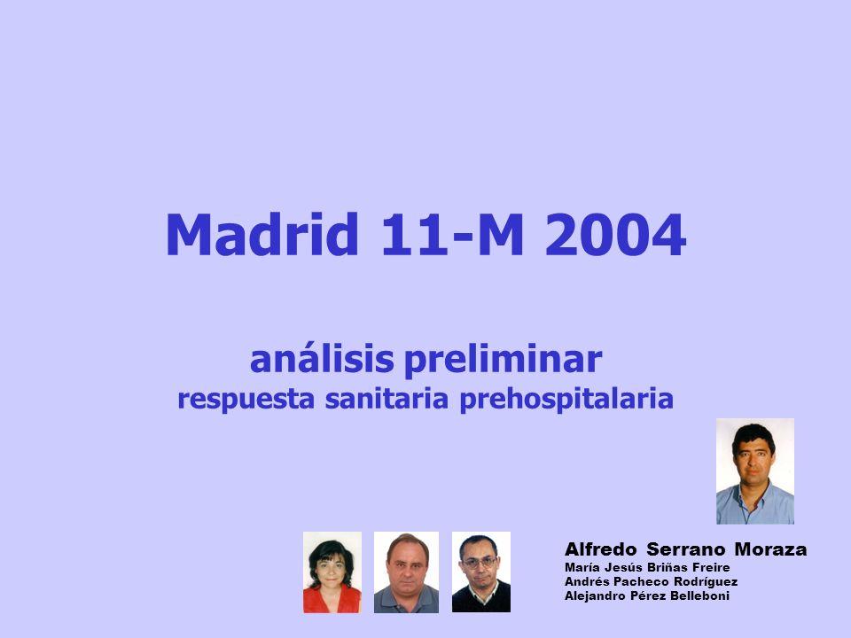 Madrid 11-M 2004 análisis preliminar respuesta sanitaria prehospitalaria Alfredo Serrano Moraza María Jesús Briñas Freire Andrés Pacheco Rodríguez Alejandro Pérez Belleboni