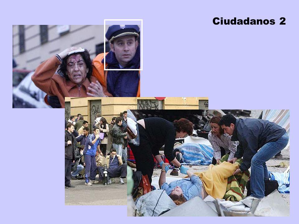 Colaboración ciudadana Estuvieron presentes desde el primer minuto Muchas víctimas atendieron a otras Incluso llegaron a hacer torniquetes in situ Sus