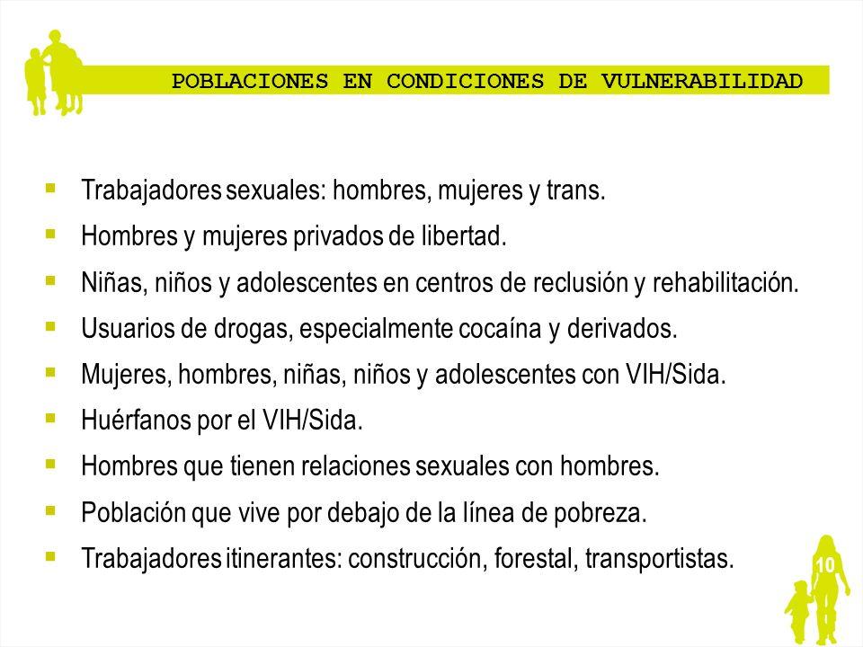 10 POBLACIONES EN CONDICIONES DE VULNERABILIDAD Trabajadores sexuales: hombres, mujeres y trans. Hombres y mujeres privados de libertad. Niñas, niños