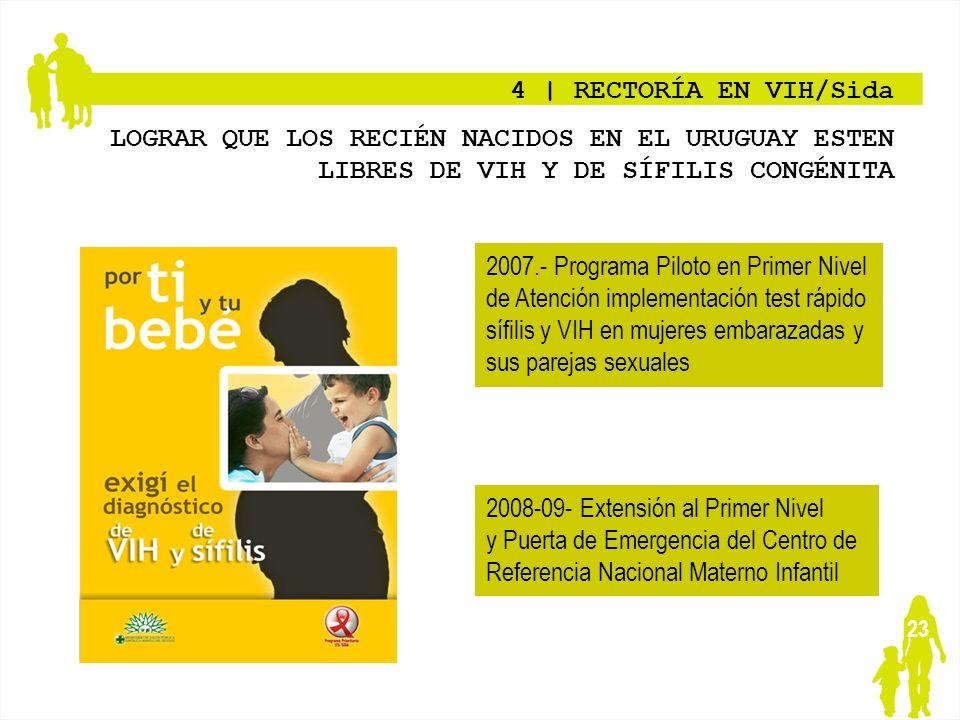 23 4   RECTORÍA EN VIH/Sida LOGRAR QUE LOS RECIÉN NACIDOS EN EL URUGUAY ESTEN LIBRES DE VIH Y DE SÍFILIS CONGÉNITA 2007.- Programa Piloto en Primer Ni