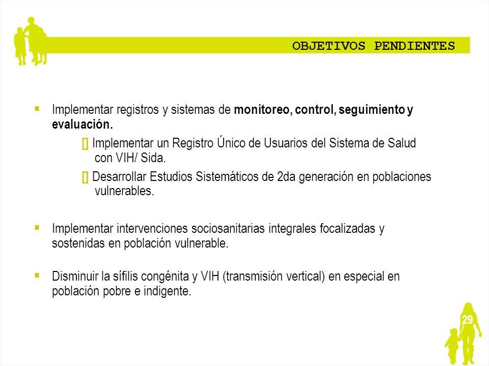 29 OBJETIVOS PENDIENTES Implementar registros y sistemas de monitoreo, control, seguimiento y evaluación. [] Implementar un Registro Único de Usuarios