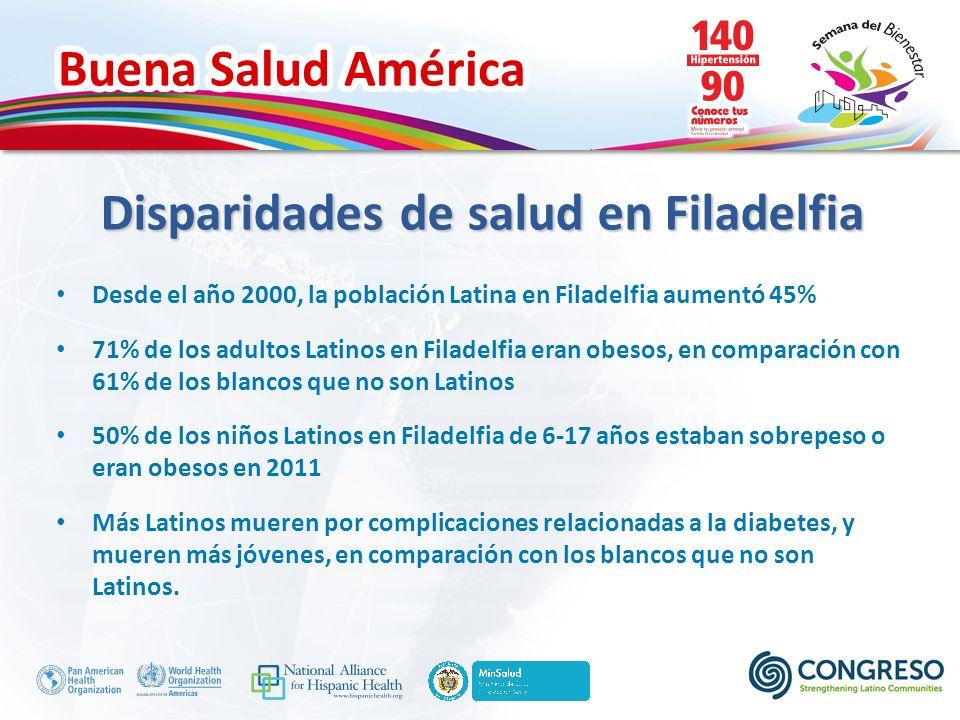 Buena Salud América Disparidades de salud en Filadelfia Desde el año 2000, la población Latina en Filadelfia aumentó 45% 71% de los adultos Latinos en Filadelfia eran obesos, en comparación con 61% de los blancos que no son Latinos 50% de los niños Latinos en Filadelfia de 6-17 años estaban sobrepeso o eran obesos en 2011 Más Latinos mueren por complicaciones relacionadas a la diabetes, y mueren más jóvenes, en comparación con los blancos que no son Latinos.