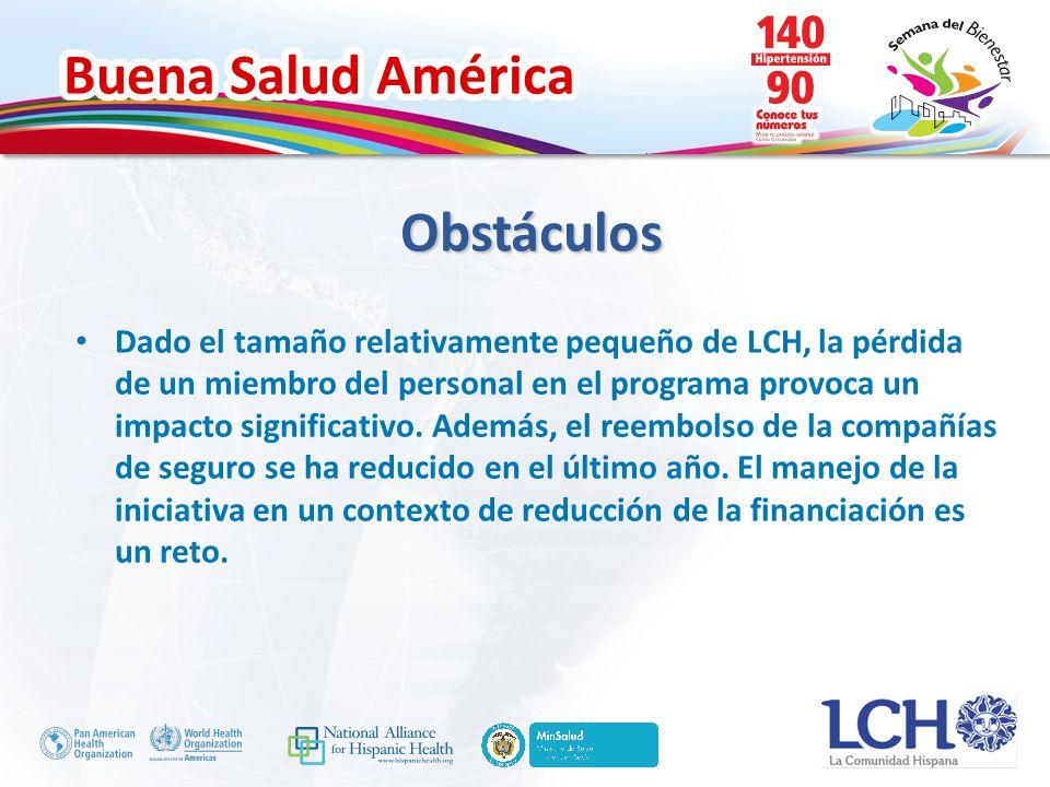 Buena Salud América Dado el tamaño relativamente pequeño de LCH, la pérdida de un miembro del personal en el programa provoca un impacto significativo.